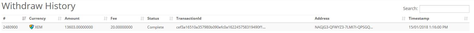 CryptpiaからNEM出金